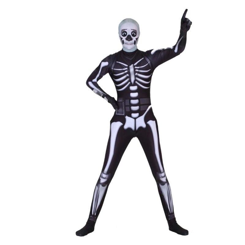 Beminnelijk Game Battle Royale Schedel Trooper Huid Jumpsuit Halloween Carnaval Cosplay Kostuums Karakter Clown Voor Vrouwen Mannen Volwassen Bodysuits