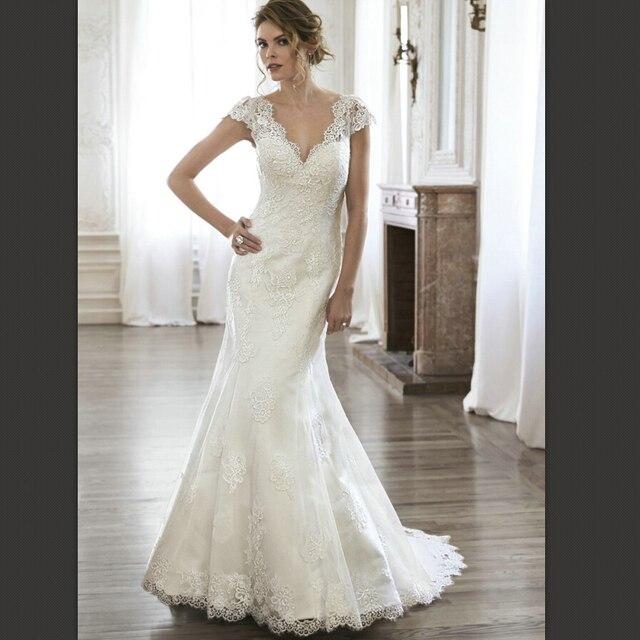 Bell Sleeve Wedding Dresses Low Back Vestidos Dress Cap Sleeves 2016 Elegant Custom Gowns Vestido De Festo