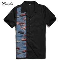 Candowlook Mens Wear 2018 Cotton Mens Clothing Hawaiian Printing Rock N Roll Style Casual Summer Floral