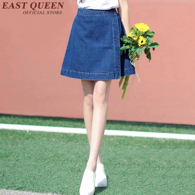 bf5dc6a945e Юбка Солнце джинсовые синие женские юбки 2018 летние женские джинсы юбка  короткая для подростков юбка школьная