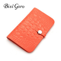 Bisi Goro Brand Women Wallet Long lady coin Purse Cowhide Cards Holder Clutch bag Fashion Female Crocodile Patter Magic Wallet
