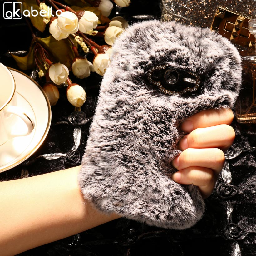 AKABEILA Silicone Phone Covers For Alcatel OneTouch Pixi 4 Pixi4 4.0 inch OT4034 4034D 4034E 4034A 4034 Case Rabbit Fur Hair Bag