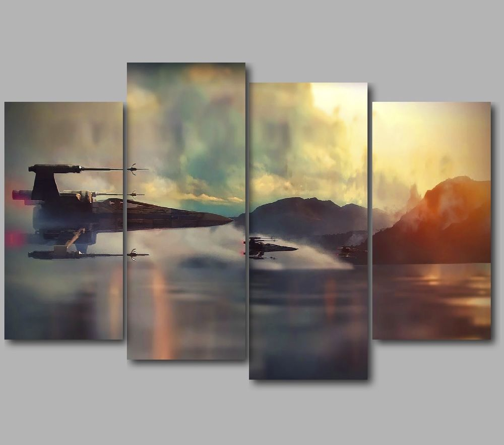 Hot Star Wars 4 Panels Canvas Wall Art Fashion Home Decorative Giclee Print Painting