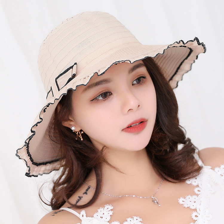 High Quality Female Waves Large Brim Sun Hat Lace/Cotton Beach Hats For Women Outdoor Seadside Sunbonnet fedoras Lady Sun Hats