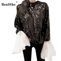 RealShe Sexy Sequined Shirt Women Spring Black O Neck Flare Long Sleeve Club Party Shirts Sexy