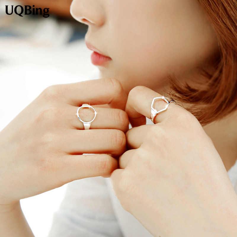 Геометрическое круглое или шестиугольное серебряное кольцо 925 серебряное кольцо для женщин Ювелирное кольцо для вечеринки подарок на день рождения