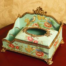 European style multi-functional decorative tissue box American remote-controlled storage