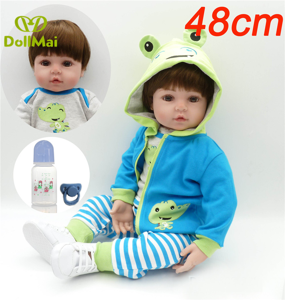 19 48cm Reborn Dolls Soft Silicone Vinyl Baby Dolls Real Boy Babies Alive Doll Bebe Boneca Reborn Menino Frog Clothing Buy At The Price Of 43 91 In Aliexpress Com Imall Com