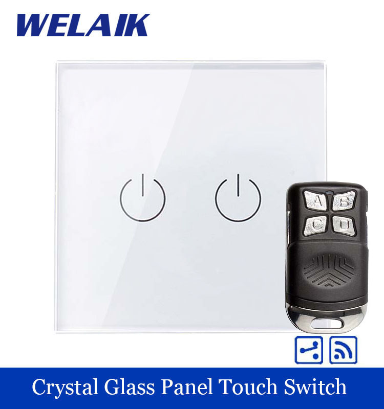 WELAIK Glass Panel Switch White Wall Switch EU remote control Touch Switch Screen Light Switch 2gang2way AC110~250V A1924W/BR01 smart home us au wall touch switch white crystal glass panel 1 gang 1 way power light wall touch switch used for led waterproof