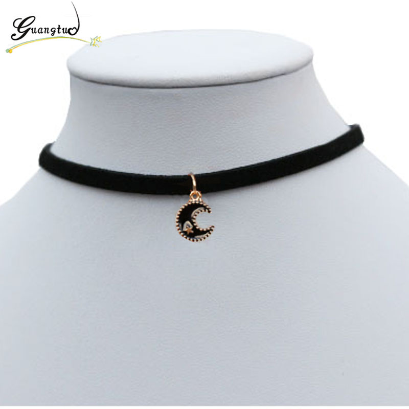 Moon Shape Chokers Necklaces Black Velvet Suede Chain Short Necklace Pendant Collares For Women Fashion Jewelry