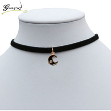 Moon Shape Chokers Necklaces Black Velvet Suede Chain Short Necklace & Pendant Collares For Women Fashion Jewelry Bijoux Gift