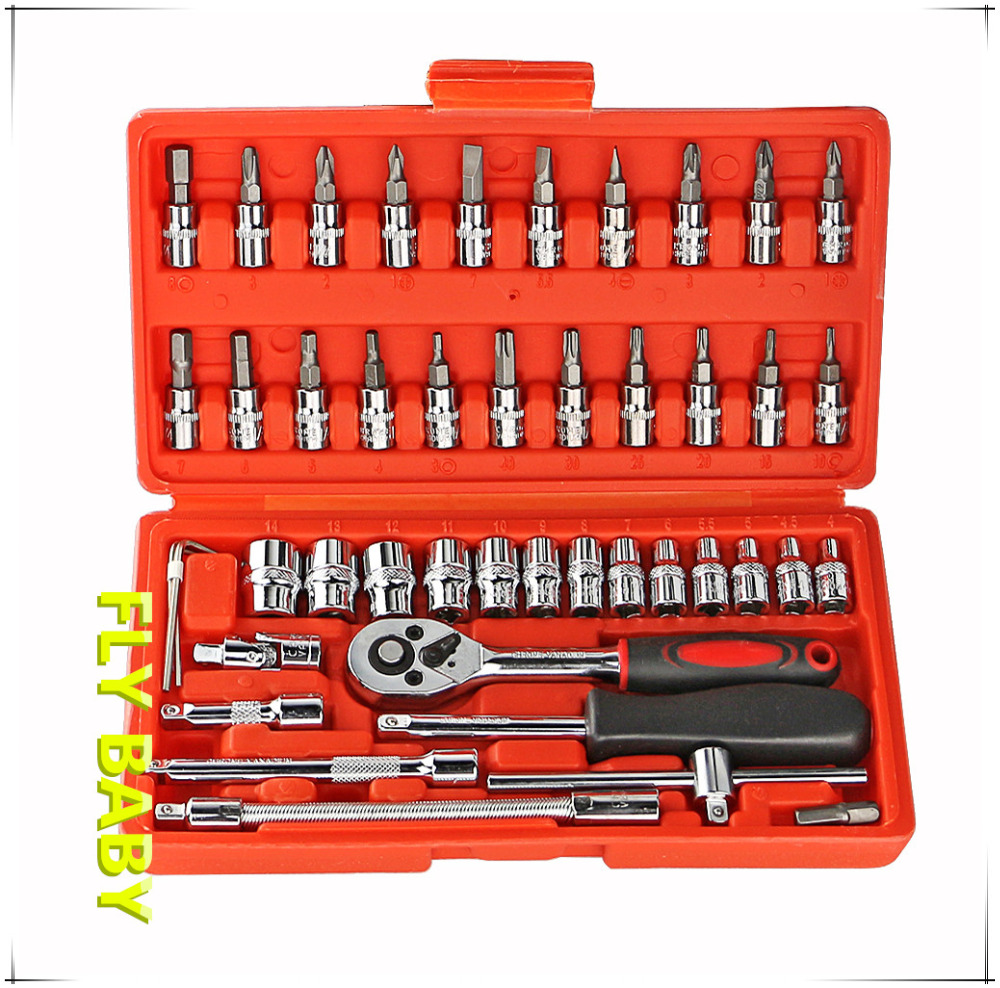 free shipping 46 Pcs Combination Socket wrench Set Ratchet wrench tool Torque Wrench for car Repair tool kit Hand Tools key professional quality 121pcs socket set car repair tool ratchet set torque wrench combination bit a set of keys chrome vanadium