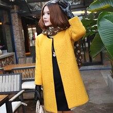 2016 new fat fertilizer to increase the Miss Korea Korean version  thin Wool woolen coat 2XL–6XL