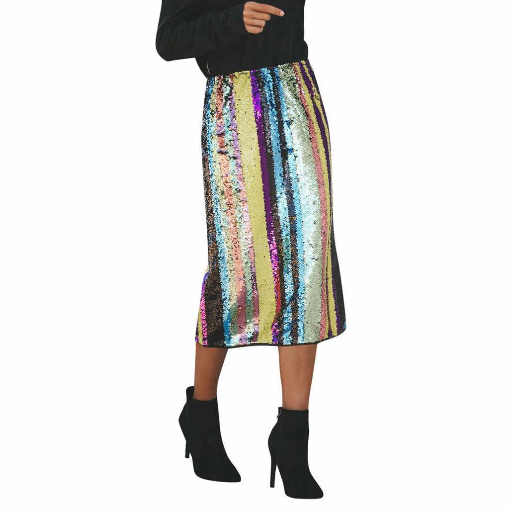2ae2e4f3a4 Verano moda mujer Sexy rayas Patchwork lentejuelas Split dobladillo cintura  alta. falda faldas mujer moda