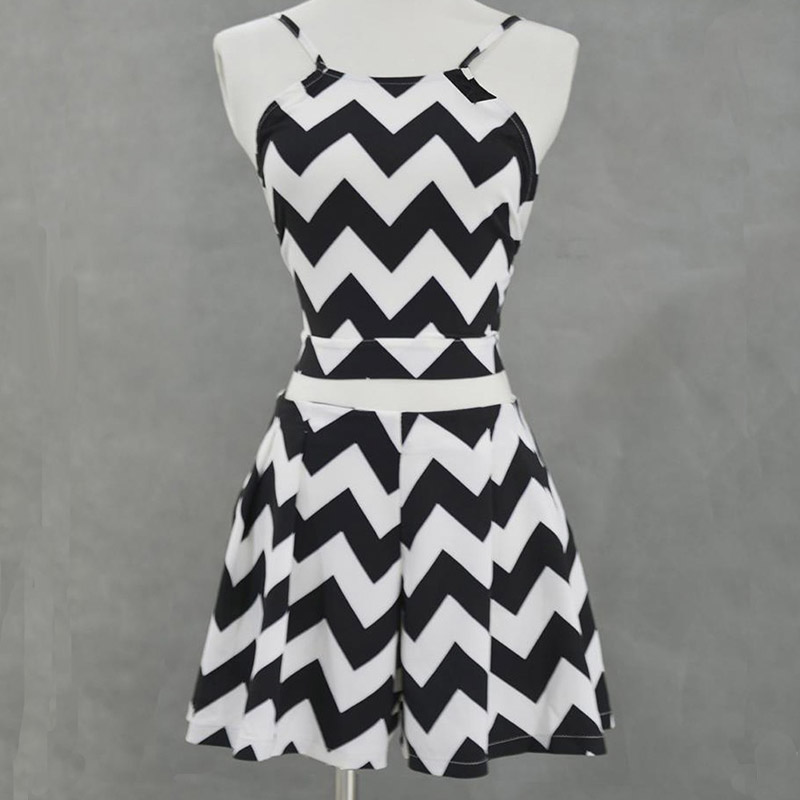 Fashion Women Two Piece Set Wave Striped Print Strap Backless Tops+Short Pants Suit Summer Beach Suit -MX8