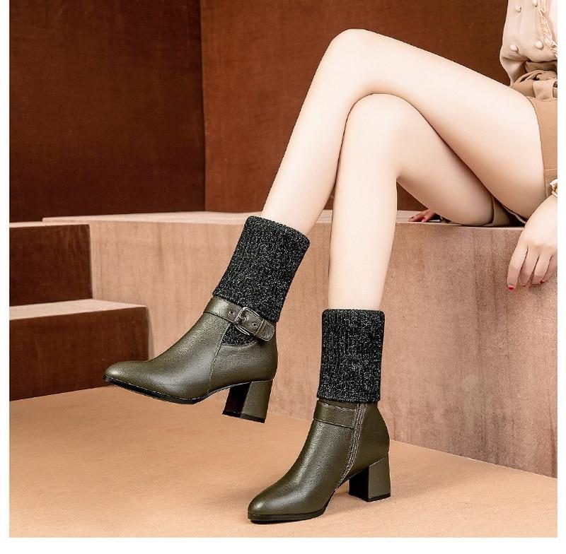 vogue l women High heeled tall knitting boot