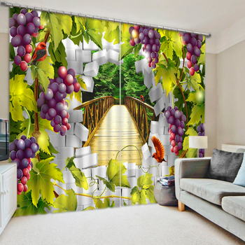 High Quality Costom Modern Photo Customize size fruit grape Curtains for living room