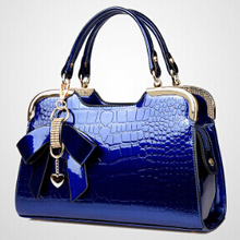 women bag 2015 new Patent leather crocodile fashion trend ladies bag burst shall stone grain bow Handbag Shoulder cross handbag
