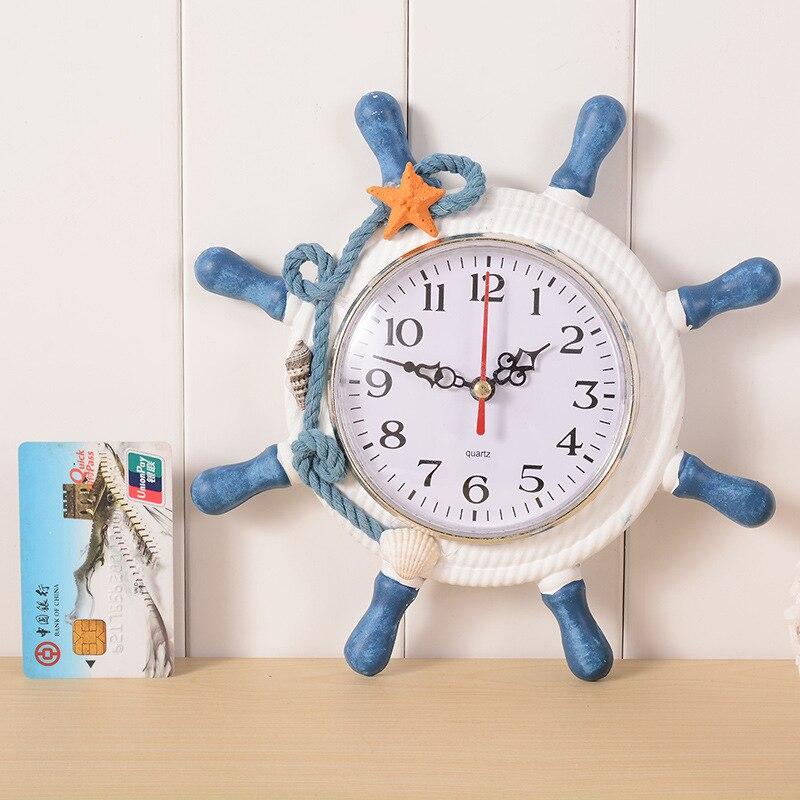 High Quality Desktop <font><b>Clock</b></font> Sailor Rudder Grabber Digital Alarm <font><b>Clock</b></font> Home Decoration Mediterranean Sea Wooden Wall <font><b>Clock</b></font>