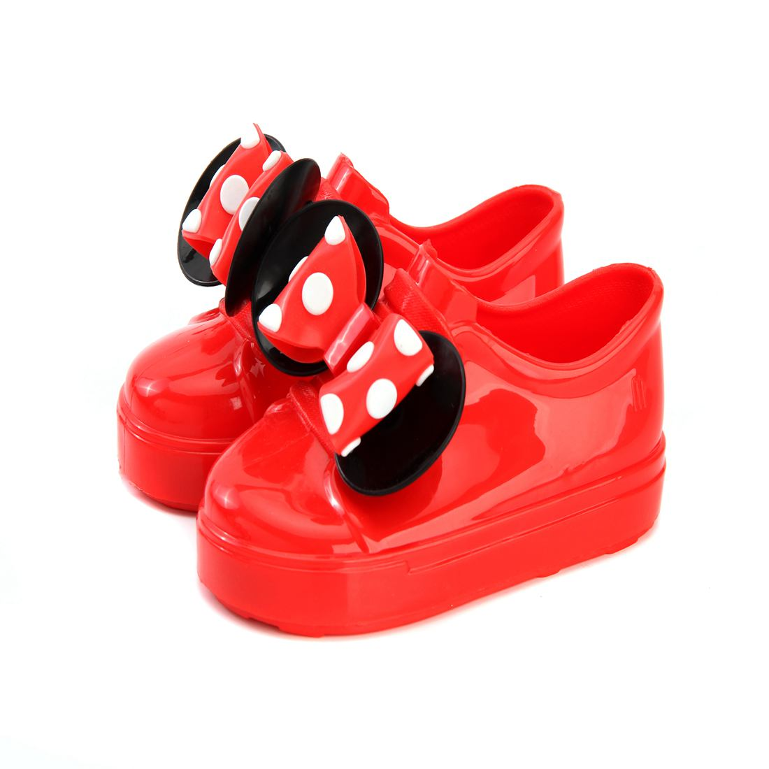 Melissa No Shoelace Twins Mouse Bow Kids Sports Shoes 2018 Tennis Winter Wave Point 2 Layer Bow Flat Slip-on Girl Sandal