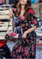 Видеть Orange Florals летнее платье 2018 женское платье Sexy V шеи с красным бантом Платье черного цвета 4D шифоновое праздничное пляжное платье SO7761