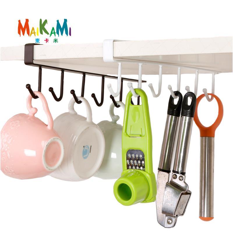 MAIKAMI Besi Dapur Penyimpanan Rak Papan laci Hanging Hook Shelf Dish Hanger Penyimpanan dada Rak Pemegang Penyusun Bilik Mandi