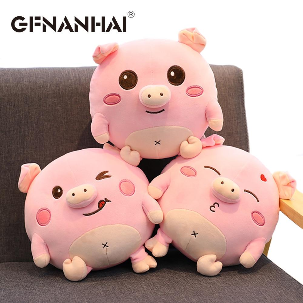1pc 30cm cute round Expression Pig plush toy stuffed soft down cotton children nap pillow sofa cushion birthday gift for kids