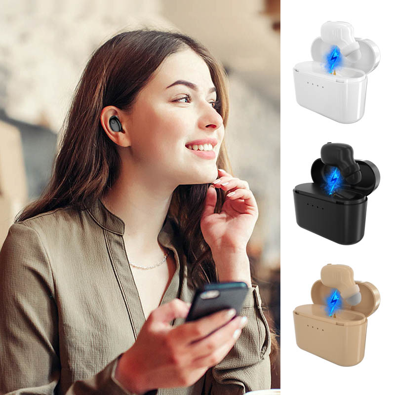 Mini Bluetooth Earphone Headset Wireless Earbud Hands-free with Charge Case for Car Driving Sports JLRJ88