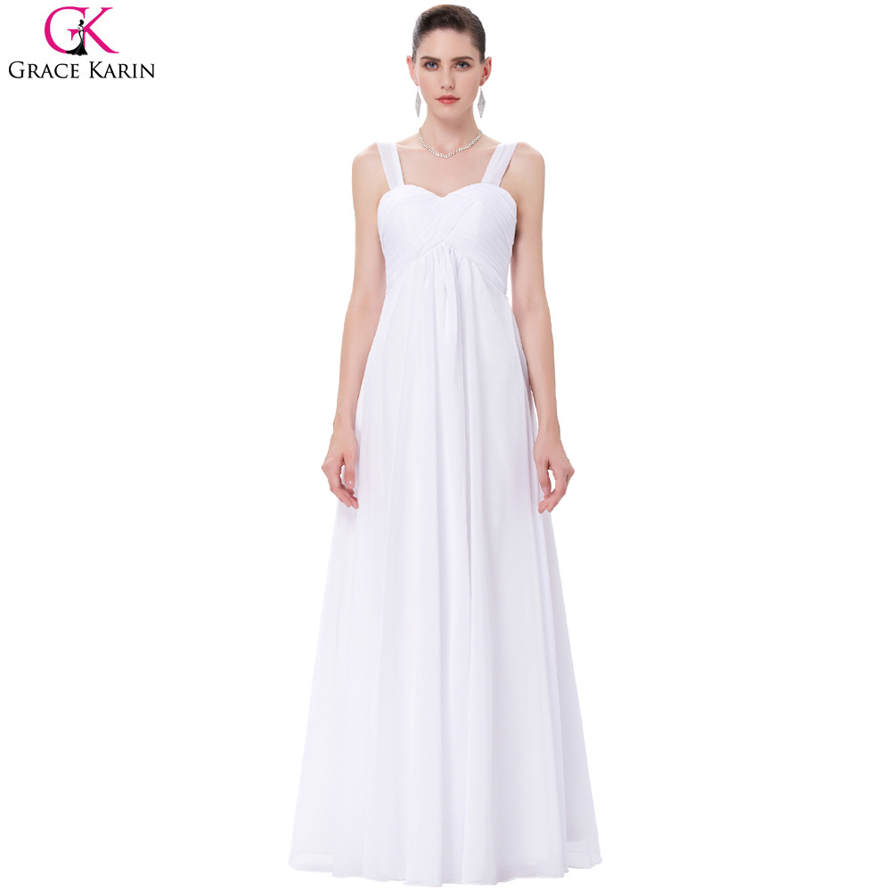 Grace Karin Long Evening Dress Chiffon White Wedding Party Gowns ...