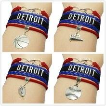 Infinity Love Detroit Basketball Charm Bracelet Mens Wrap Bracelet Gift for Basketball Fans Custom Wristband friendship Bracelet