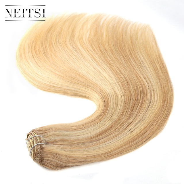 Neitsi Brazilian Straight Double Drawn Remy Clip In Human Hair
