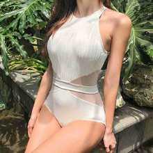Сдельный купальник, купальник для женщин, для девушек, Корея, новинка, черный, белый, Ретро стиль, сетка, полый, сексуальный, женский, цельный, бамбуковое волокно, Sierra Surfer