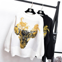 New Autumn Women Casual Loose Sweater Crewneck Drop Shoulder Oversized Sweater Abstract Fox Print Pullover Cartoon