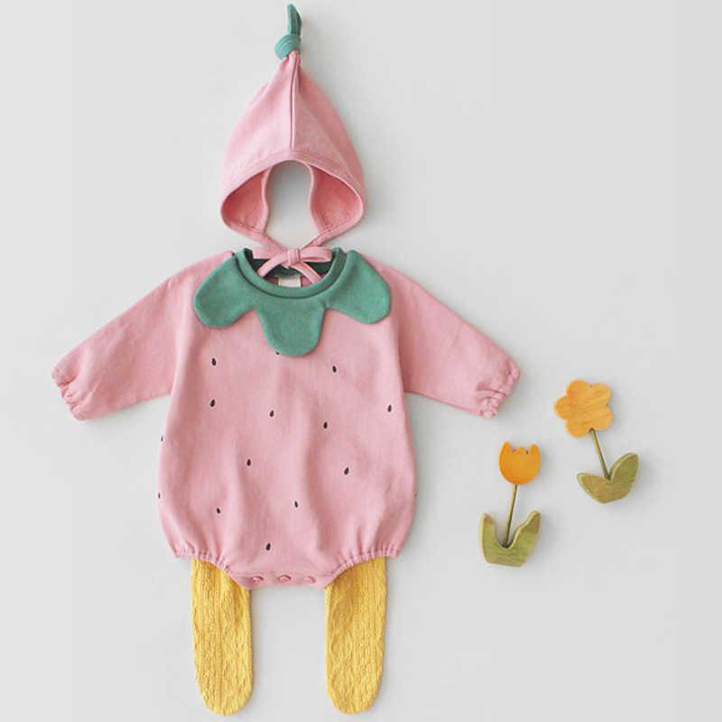 2019 ฤดูใบไม้ผลิทารกใหม่เกิดเด็กทารกฟักทองน่ารักรูปร่างผ้าฝ้ายแขนยาว + หมวก Jumpsuits เสื้อผ้าเด็กผู้หญิง