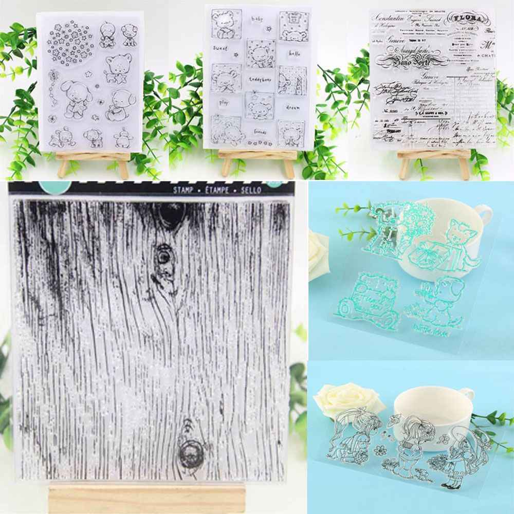 2018 New Lovely Girl&Animal Transparent Clear Rubber Stamp Silicone Scrapbooking DIY Photo Album Decor Cards Crafts Stamps Sheet