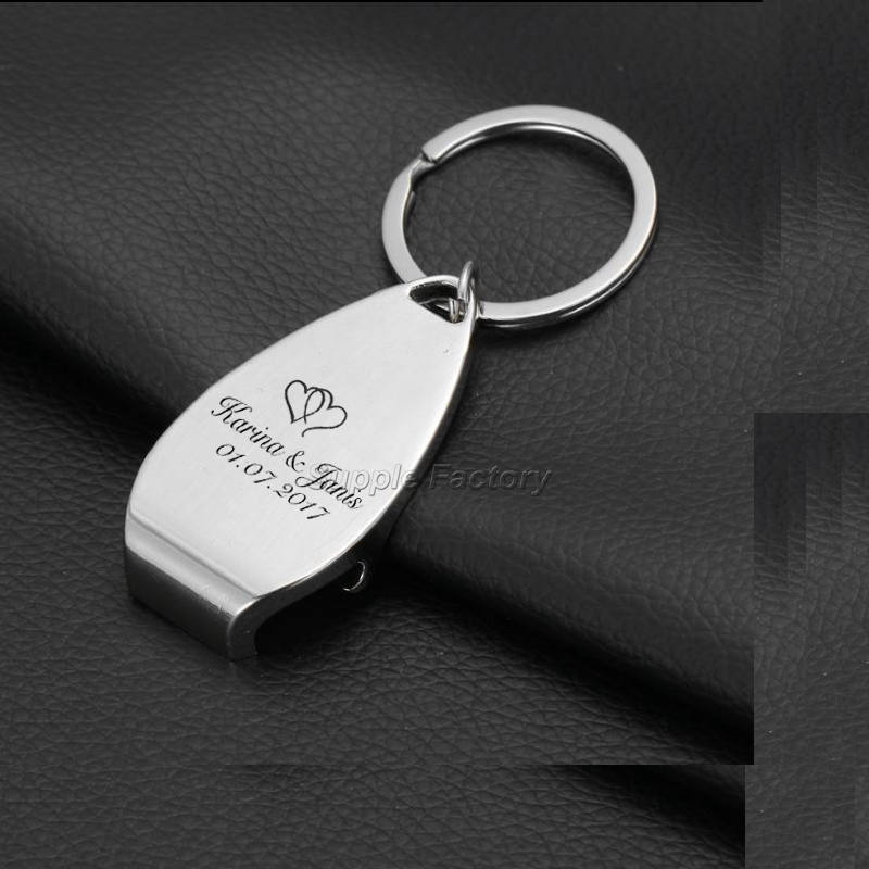 100 stücke Braut & Bräutigam Personalisierte Schlüssel Ring Schlüssel Kette Bier Flasche Opener Personalisierte Bomboniere Danke Geschenke-in Party-Geschenke aus Heim und Garten bei  Gruppe 1