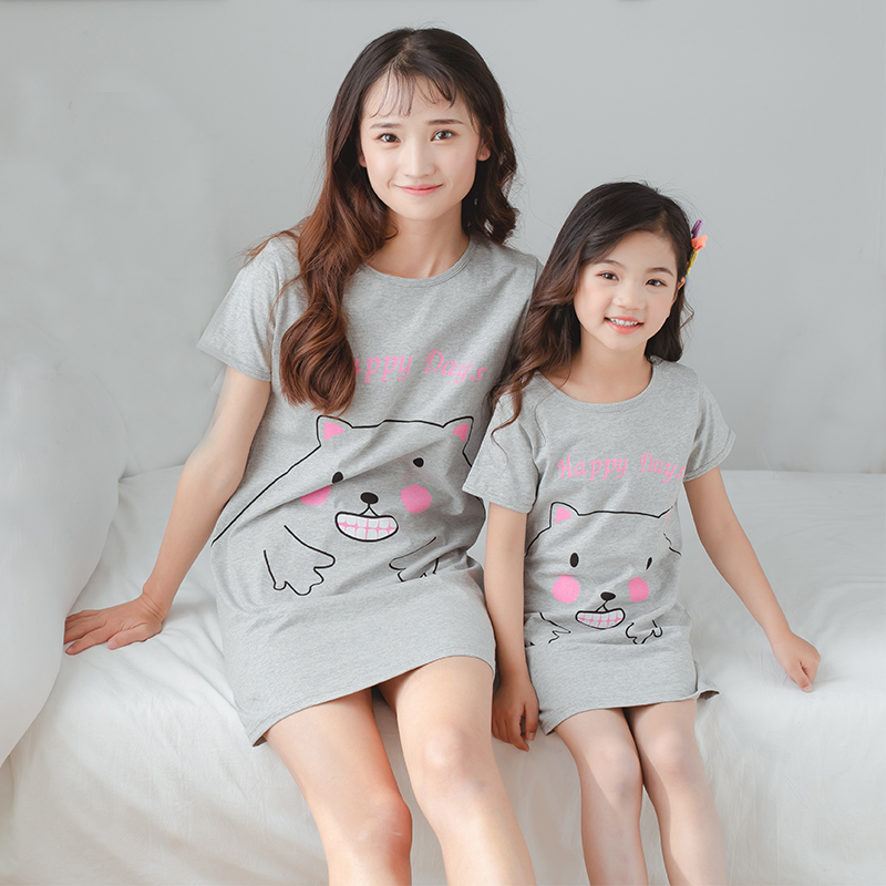 100% Cotton Girls Nightgown Summer Children's Dressing Gown Mother Kids Nightdress Fashion Print Baby Nightshirt Girl Sleepwear