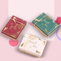20pcs Valentine's Day Gift Paper Box Birthday Wedding Party Paper Box With Ribbon Gold Leaf Decor Candy Sweet Love Gift Boxs