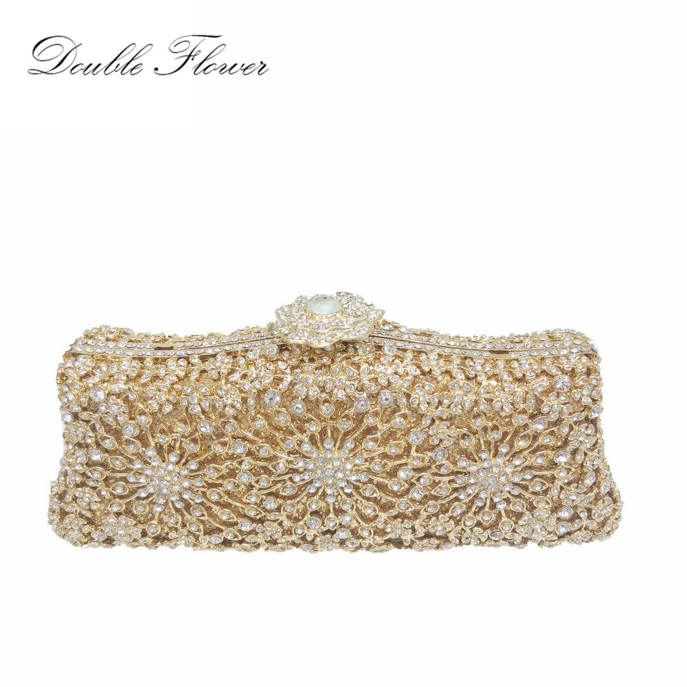 Hollow Out Floral Metal Clutches Bridal Gold Wedding Handbags Luxury Crystal Women Evenings Bag Cocktail Clutch Purse golden stones women evening clutch bags brand hollow out diamond crystal bridal wedding handbags metal clutches shoulder purse