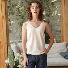 e90e9ffbbc5d7 High Quality 100% Pure Cashmere Tanks Female Hook 2018 New Soft Knitted Sexy  V-