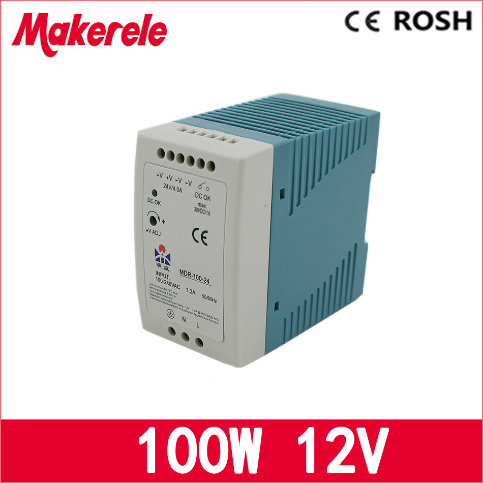 MDR-100-12 ac dc power supply 100w 12vdc 8.3A switching Power Supply Driver for LED Strip Light Module Display best quality 12v 15a 180w switching power supply driver for led strip ac 100 240v input to dc 12v