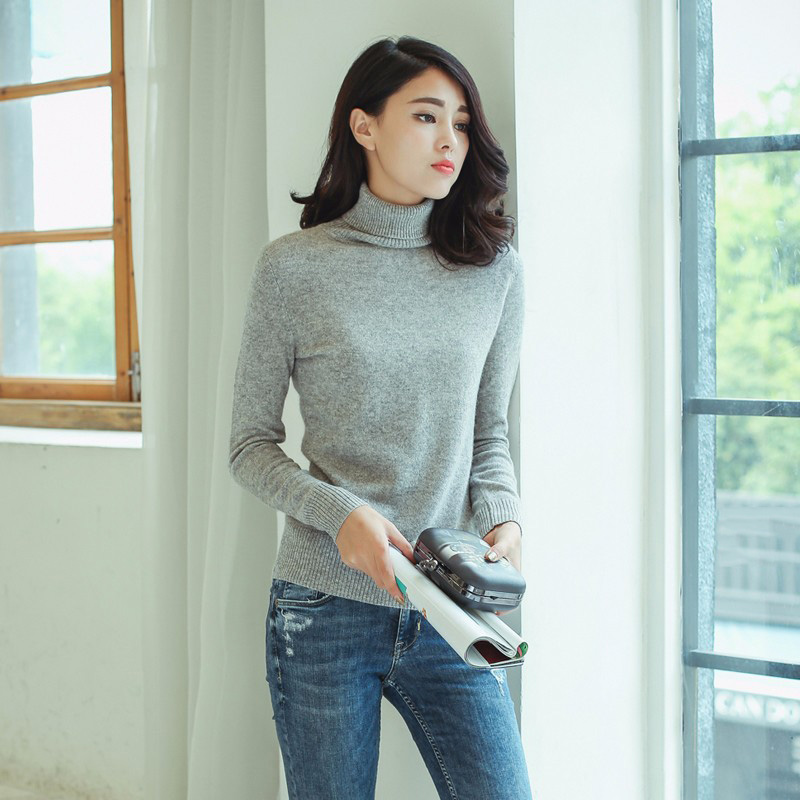 Kashana Cashmere Sweater Turtleneck 100% Pure Cashmere Pullovers Long Sleeves Knitting Sweater Solid Color Gray Cashmere Sweater