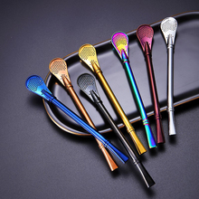 1Pc Drinking Straw Stainless Steel Metal  Gourd Bombilla Filter Spoons Reusable Pro Tea Tools Bar Accessories