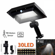 T-SUN Solar Gutter Lights PIR Motion Sensor 30 LED Solar Power Light Outdoor Gutter Wall Roof Garden Lamps for Outdoor Garden