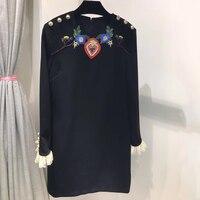 Runway Dresses 2017 Women High Quality Black Long Sleeve Spring Autumn Flower Embroidery Dress Luxury