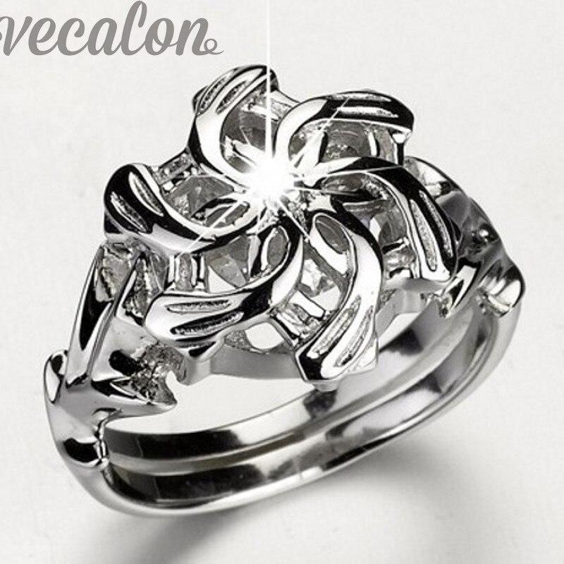 Classic Vintage Wedding Band ring für frauen HERR DER RINGE Die Galadriel Nenya Charme 3ct 5A Zirkon 925 Soild Sterling Silber ring
