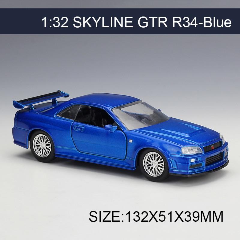 1:32 Diecast Model Car Skyline GTR R34 Kék járműjáték Gyűjthető modellek Sport Autók játékok Gyors és szép
