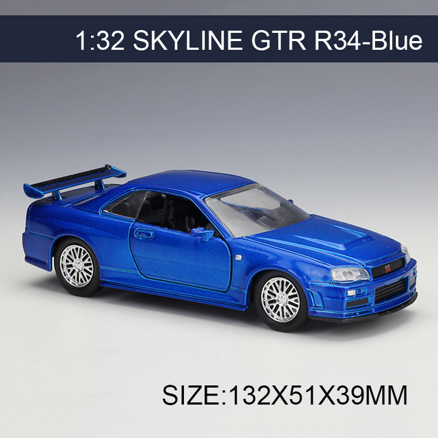 1 32 diecast model car skyline gtr r34 blue vehicle play collectible