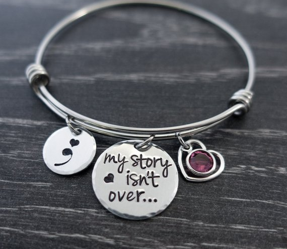 New Arrival Awareness Semicolon Birthstone Jewelry My story isnt over ...Pendant Bracelet Bangle Friend Gift  YP4222