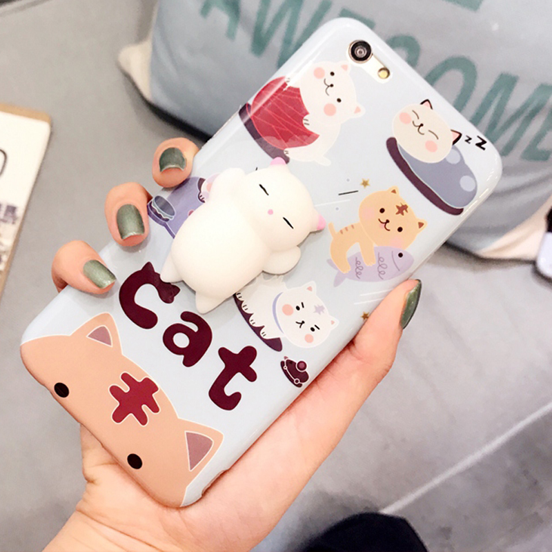 Squishy Cat For Phone Case : Cute Soft Silicone Squishy Cat Case